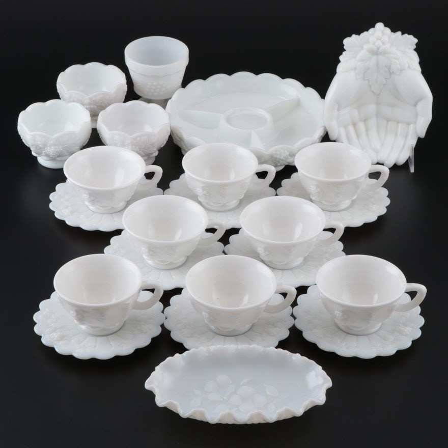 """Westmoreland """"Paneled Grape"""" Milk Glass Cups, Saucers, and More"""