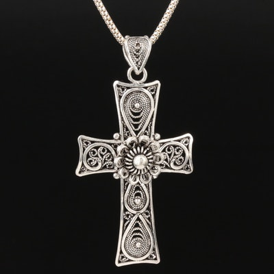 Sterling Silver Cross Filigree Pendant on Box Chain Necklace