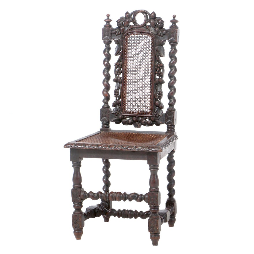Louis XIII Style Carved Oak Side Chair, Late 19th Century