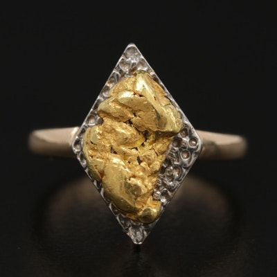 14K Yellow Gold Ring Topped with 22K Gold Nugget