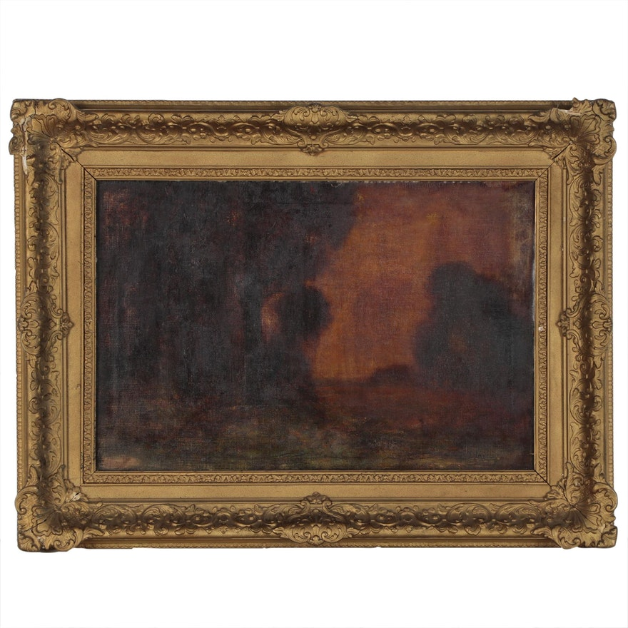 Attributed to George Inness Tonalist Landscape Oil Painting, Late 19th Century