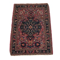 1'11 x 2'9 Hand-Knotted Persian Kashan Rug, 1920s