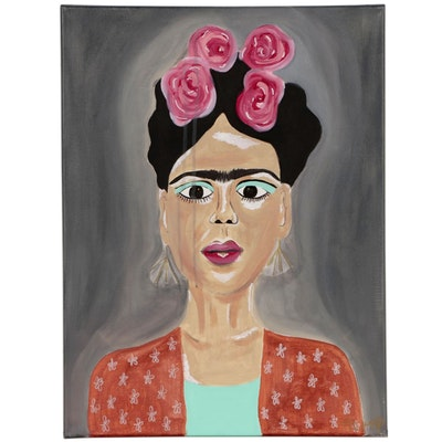 Jordan Howell Acrylic Portrait Painting of Frida Kahlo