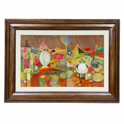 L.J. McCarthy Abstract Landscape and Still Life Mixed Media Painting, 1971