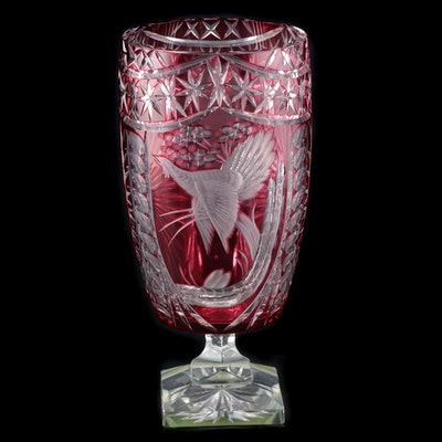 Cranberry Cut to Clear Crystal Vase with Bird in Flight