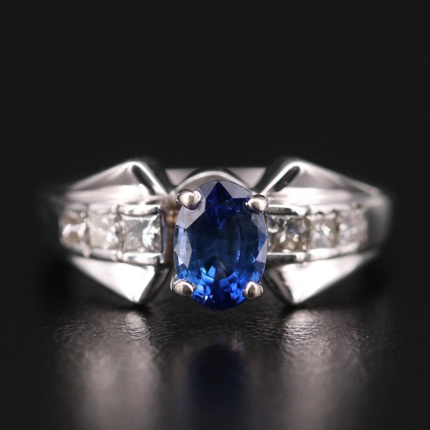 14K White Gold 1.32 CT Sapphire and Diamond Ring
