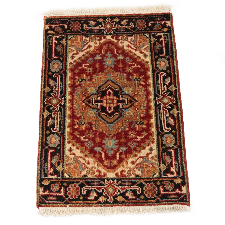 2'1 x 3'2 Hand-Knotted Indo-Persian Heriz Serapi Rug, 2010s