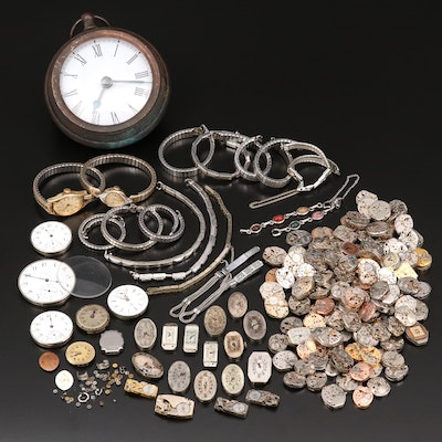 Mix of Over One Hundred Watch Movements, Pieces and Parts