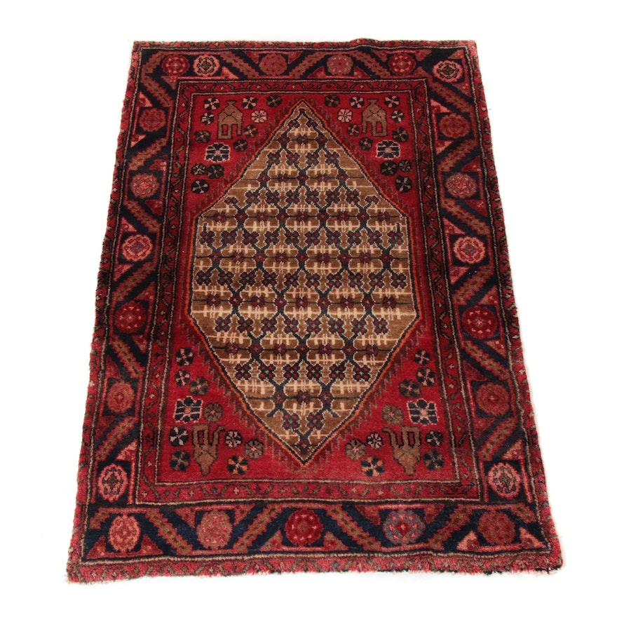 3'4 x 4'9 Hand-Knotted Persian Zanjan Rug, 1970s