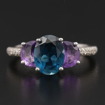 Sterling Silver Topaz, Amethyst and Diamond Ring