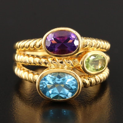 Sterling Silver Peridot, Blue Topaz and Amethyst Ring