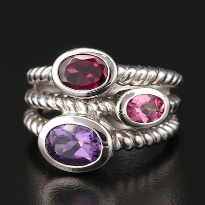 Sterling Silver Amethyst, Rhodolite Garnet, and Topaz Ring