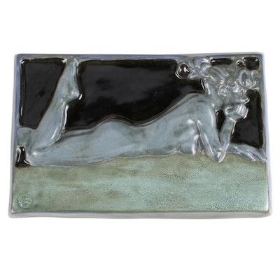 Zimpleman Art Nouveau Style Ceramic Plaque, 1986