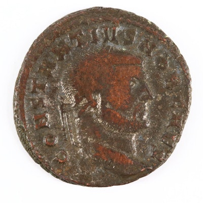 Ancient Roman Imperial AE Follis Coin of Constantius I, ca. 297 A.D.