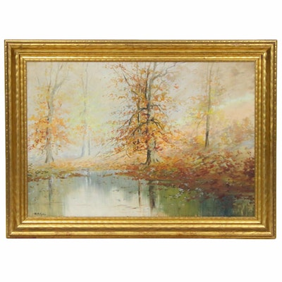 William Eyden Jr. Forest Pond Landscape Oil Painting, Early to Mid 20th Century