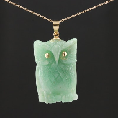 14K Yellow Gold Jadeite Carved Owl Pendant Necklace