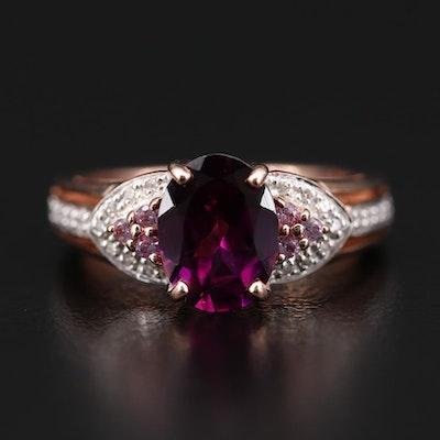 10K Rose Gold Rhodolite Garnet, Sapphire and Diamond Ring