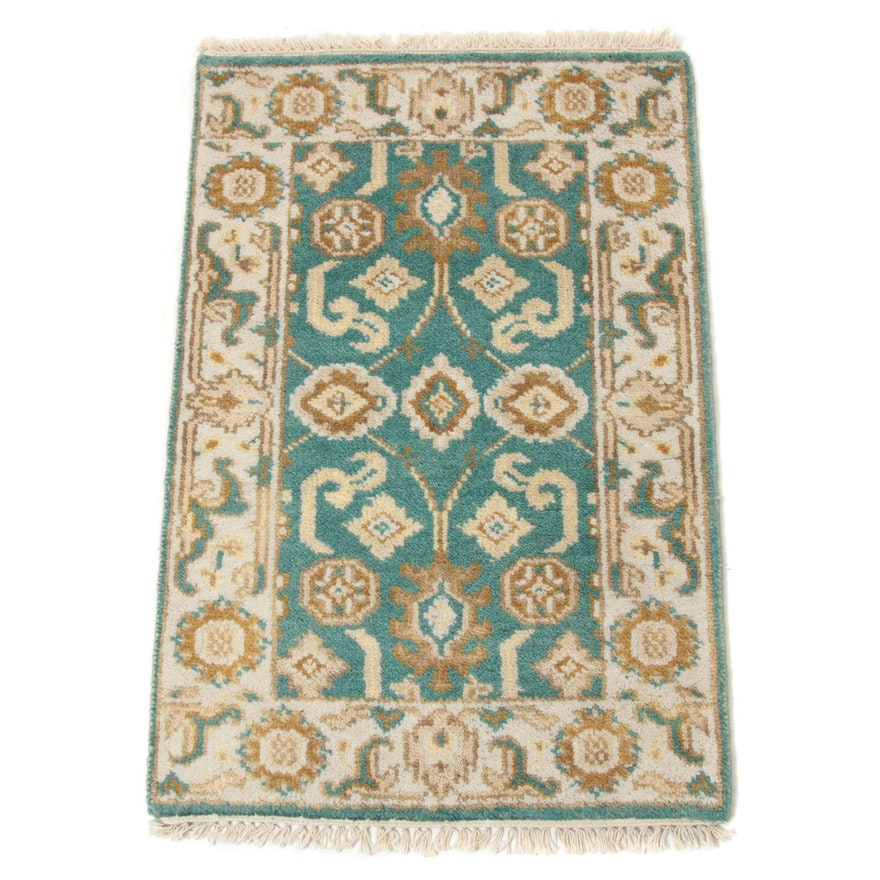 2'1 x 3'4 Hand-Knotted Indo-Turkish Oushak Rug, 2010s