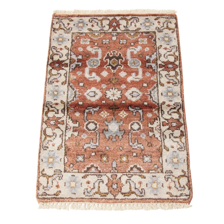 2'1 x 3'3 Hand-Knotted Indo-Persian Mahal Silk Blend Rug, 2010s