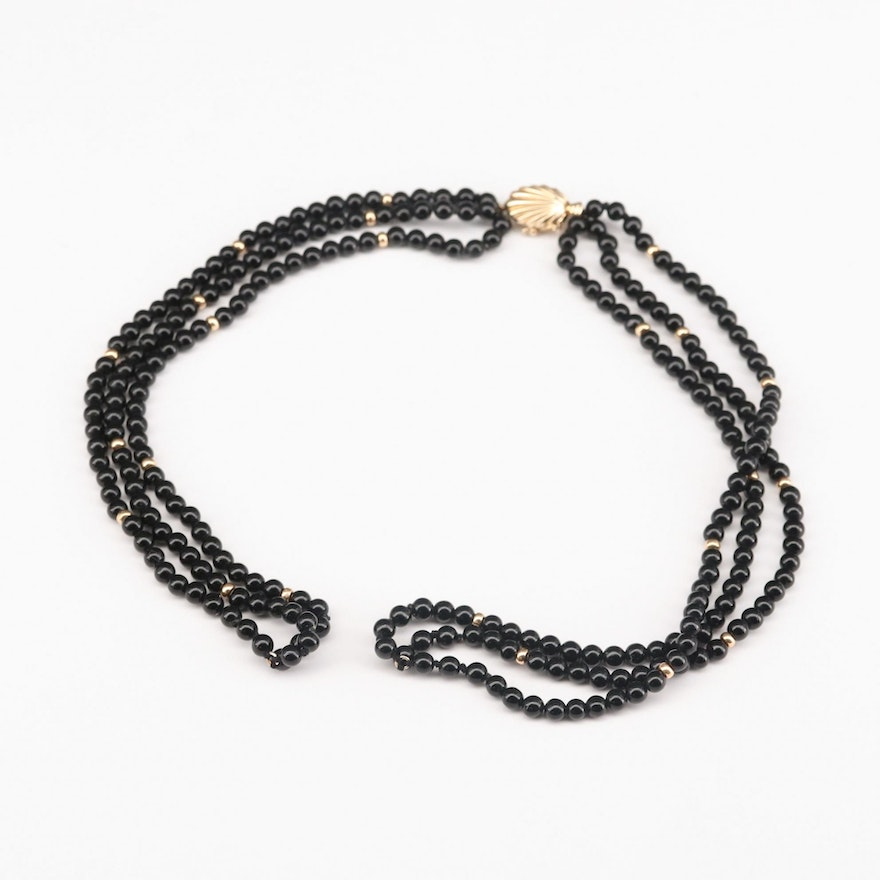14K Yellow Gold Black Onyx Beaded Necklace Components