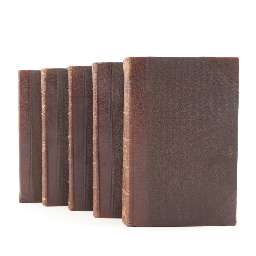 """1902 Leather Bound """"A Textbook of Steam Engineering"""", Five Volume Set"""