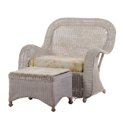Contemporary Painted Wicker Arm Chair and Ottoman