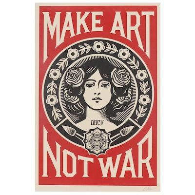 """Shepard Fairey Offset Poster """"Make Art Not War"""""""