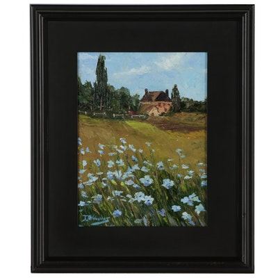 "James Baldoumas Oil Painting ""Wildflowers & Pasture"""