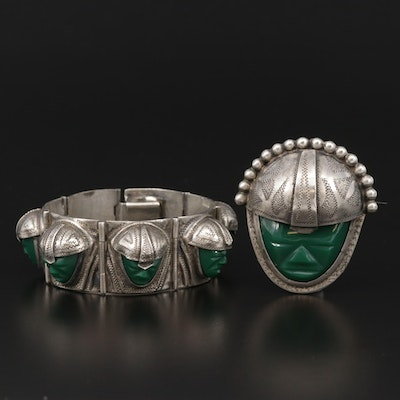 1940s Mexican Sterling Glass Figural Panel Bracelet and Brooch Set