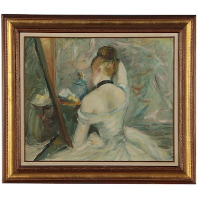 "Oil Painting after Berthe Morisot ""Woman at Her Toilette"""