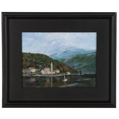 """James Baldoumas Oil Painting """"Mountain Lake"""""""