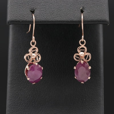 14K Rose Gold 3.00 CTW Ruby Filigree Dangle Earrings