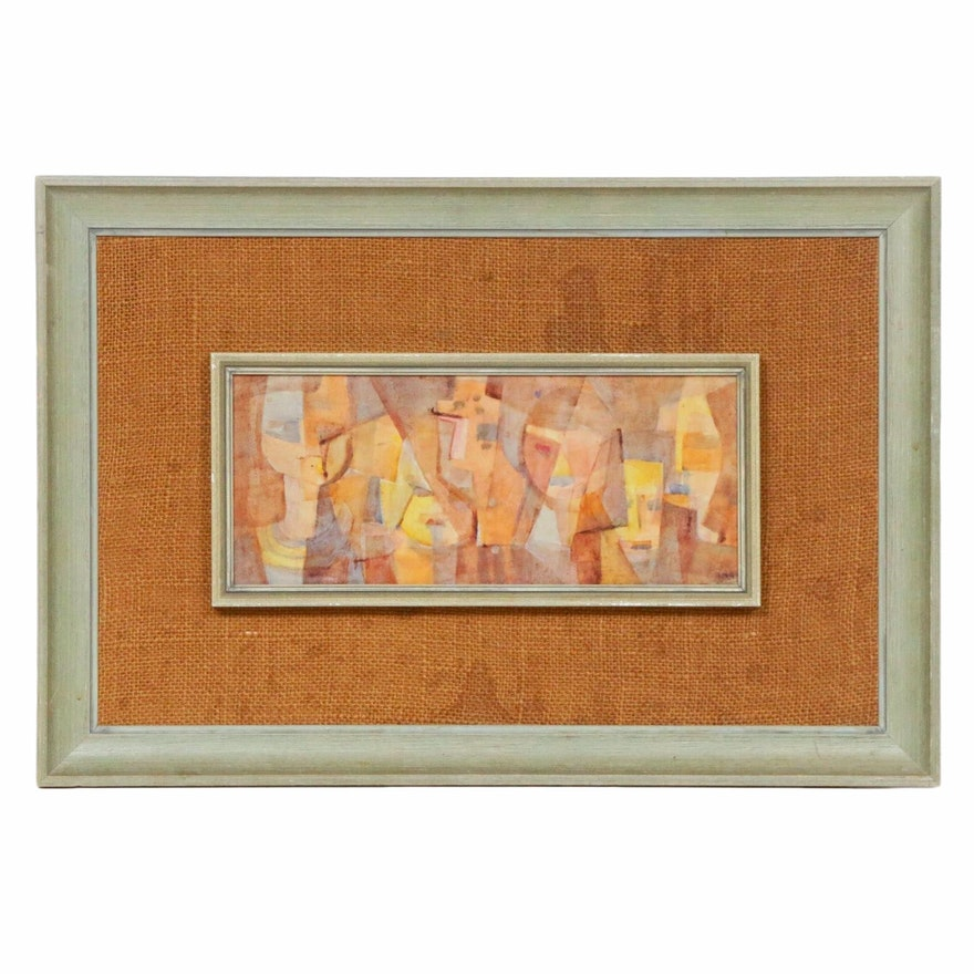 Mid 20th Century Abstract Faces Watercolor Painting
