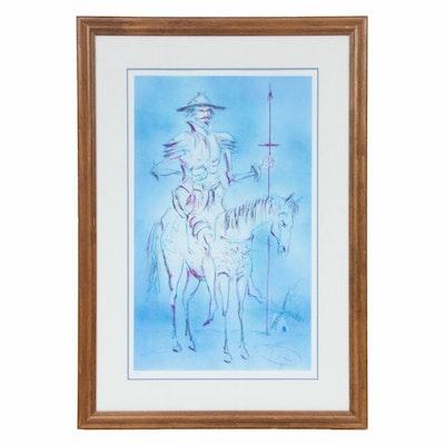 """László Dús Color Lithograph """"Don Quixote,"""" 1975"""