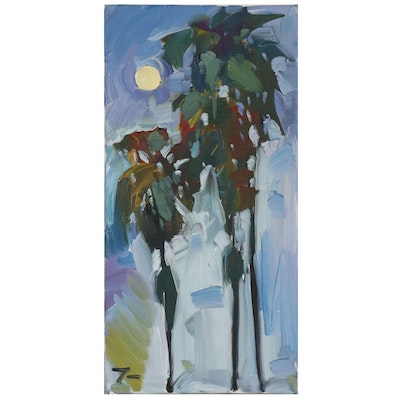 """Jose Trujillo Oil Painting """"Palms in a Miami Summer"""""""