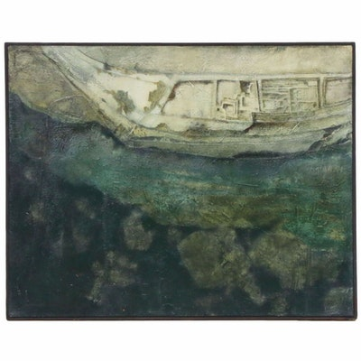 Martha Slaymaker Abstract Mixed Media Painting, 1966