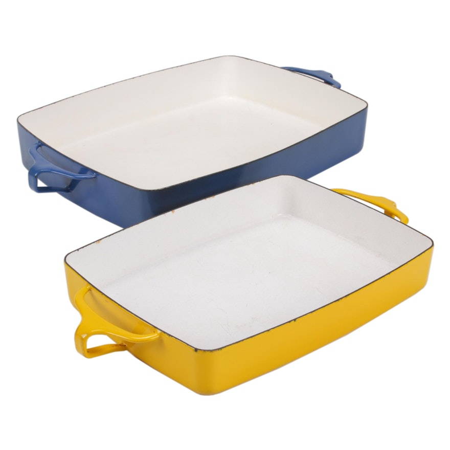 Dansk Kobenstyle Yellow and Blue Enameled Casserole Dishes by Jens Quistgaard