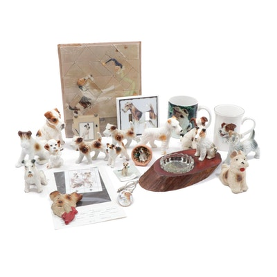Porcelain and Ceramic Fox Terrier Figurines, Mugs, Stamps and Decor