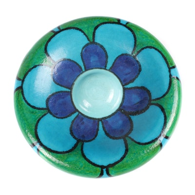Hand-Painted Art Pottery Flower Motif Ashtray, Mid-20th Century