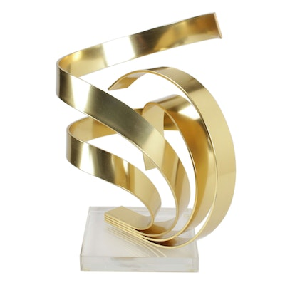 Dan Murphy Bent Brass Abstract Sculpture