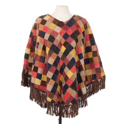 Patchwork Suede Fringed Poncho