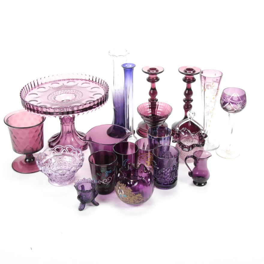 Bohemian, Pressed, Depression and Other Amethyst Glass Table Accessories
