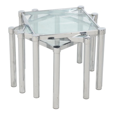 Chrome and Glass Nesting Tables, Set of Three