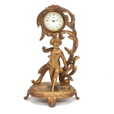 New Haven Clock Co. Art Nouveau Cast Metal Mantel Clock