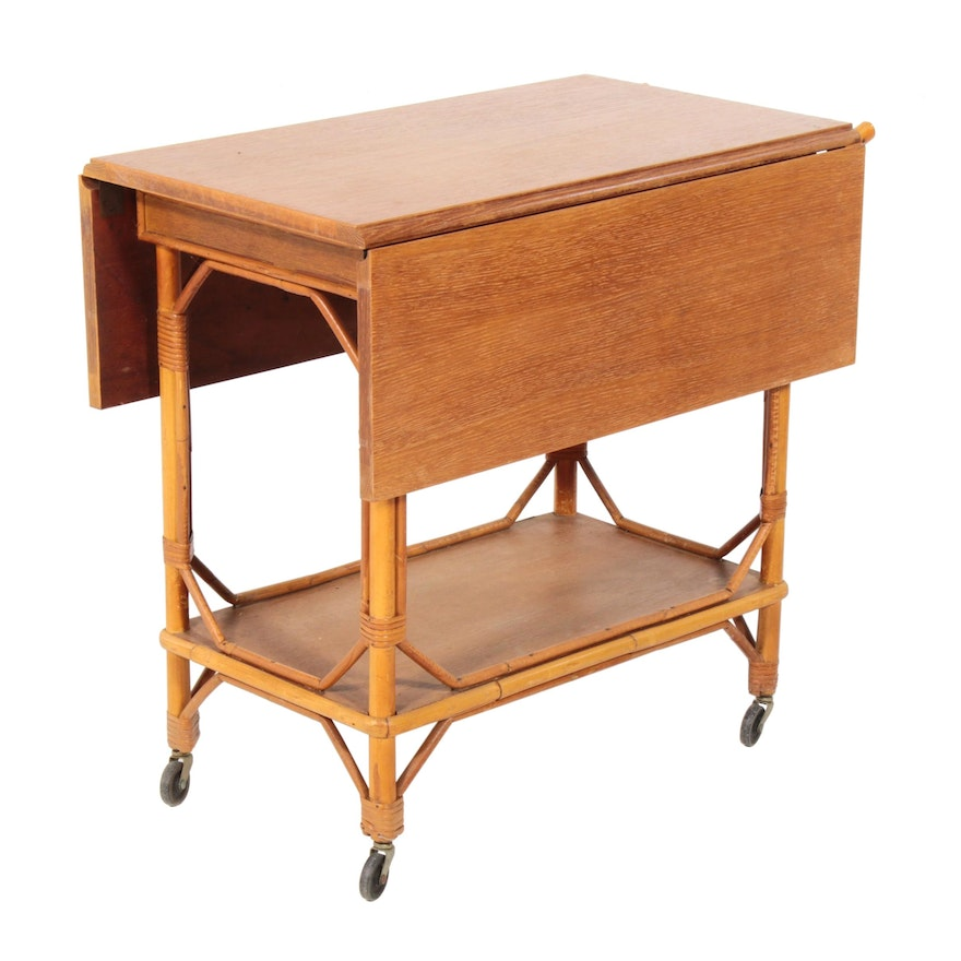 Rattan and Wood Bar Cart, Mid-20th Century