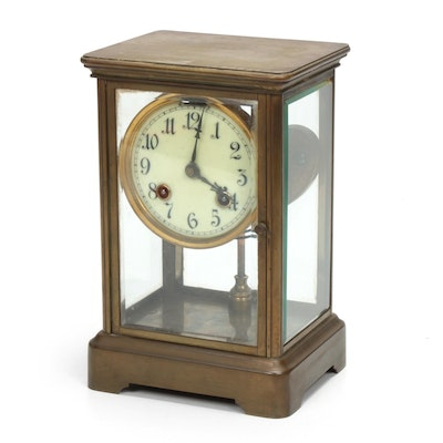 Ansonia Clock Co. Brass and Glass Cased Carriage Clock