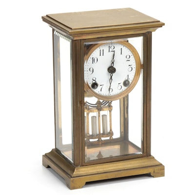 Ansonia Clock Co. Brass and Glass Cased Carriage Clock, Mid-20th Century