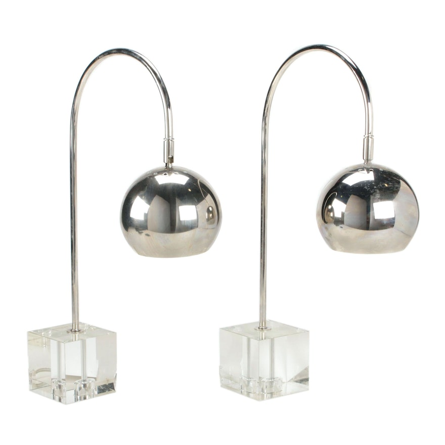 Metal Table Lamps with Glass Cube Bases