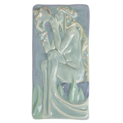 Zimpleman Art Nouveau Style Ceramic Plaque, 1985