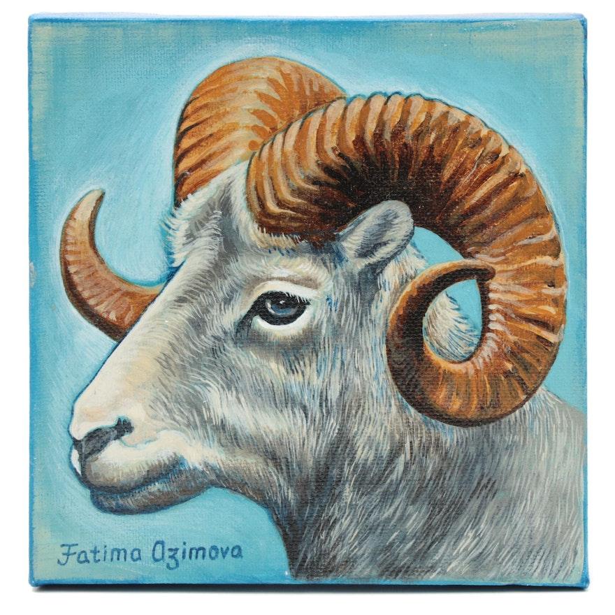 Fatima Taylor Acrylic Painting of a Ram